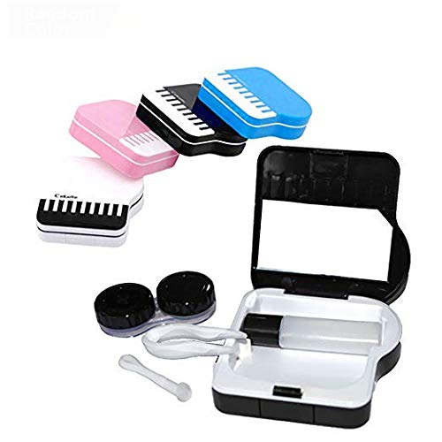 Portable Contact Lens Case, Contact Lense Solution Travel Size Holder Box with Mirror, Mini Creative Piano Contacts Tweezers Applicator Remover Container Travel Kit for Contact Lens Care
