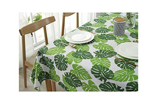 SunnyWarm Rectangular Pastoral Style Tropical Plants Printed Tablecloth Home Protection and Decoration Table Cover,Tablecloth,9090Cm