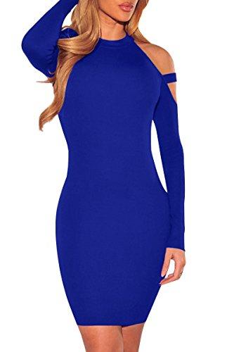 Manches Longues Femmes Yming Robes Moulantes Club Sexy Bandage Épaule Hors Bleu