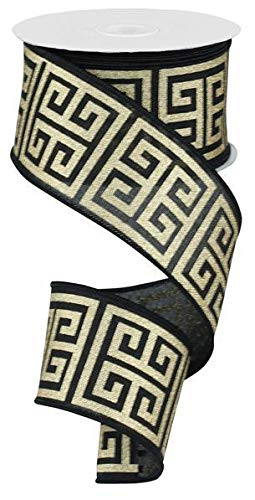 Greek Keys Wire Edged Ribbon (Black, Gold Metallic, 2.5