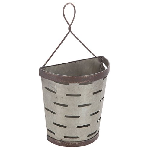 Galvanized Vented Tin Olive Bucket Wall Pocket with Hanger ()
