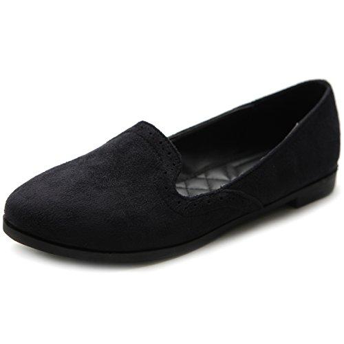 Ollio Women's Shoe Ballet Faux-Suede Cute Comfort Multi Color Flat(5.5 B(M) US, Black)