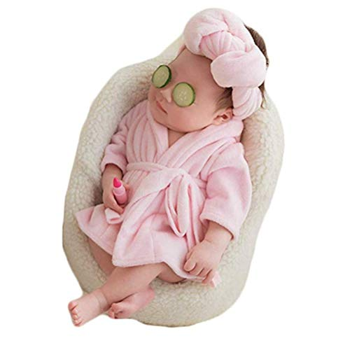 Fashion Newborn Baby Photography Props Boy Girls Photo Shoot Props Outfits Crochet Knitted Costume Unisex Cute Infant Hat Pants Set (Pink Bathrobes+Towel)