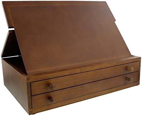 Us Art Supply Walnut 2 Drawer Adjustable Wooden Storage Box With Fold Up Solid Drawing Easel