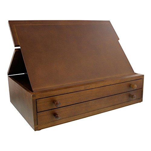 US Art Supply Walnut 2-Drawer Adjustable Wooden Storage Box with Fold Up Solid Drawing Easel by US Art Supply