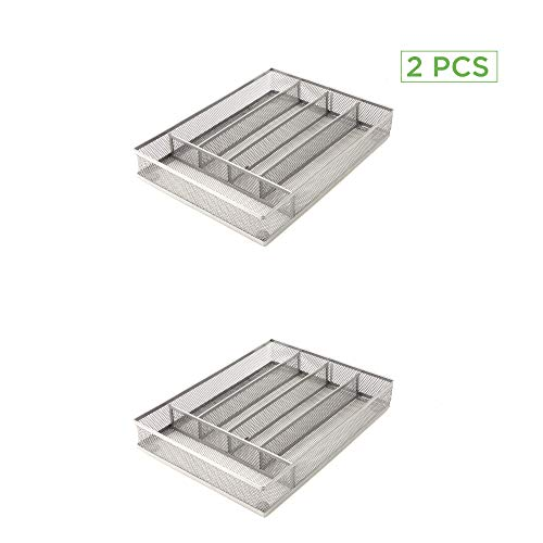 Mind Reader 5 Section Cutlery Tray Drawer Organizer 2 Pack, Silver Mesh by Mind Reader