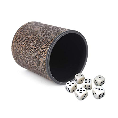 Wustrious Fashion Dice Cup Shaker KTV Bar Pub Dice Games Casino Game Party Supplies Egyptian Pattern Leather Straight Dice Cup for Bars ()