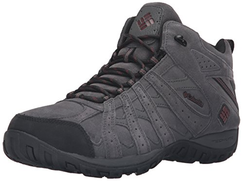 Columbia Redmond Mid Leather Omni-Tech, Scarpe da Arrampicata Uomo Grigio (Dark Grey/ Madder Brown)
