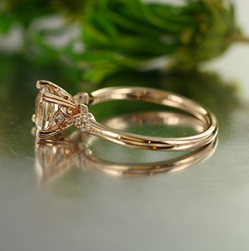 Unity-VS Diamond 7mm Round Morganite in 14K Rose Gold Morganite Engagement Ring (Bridal Set Available)