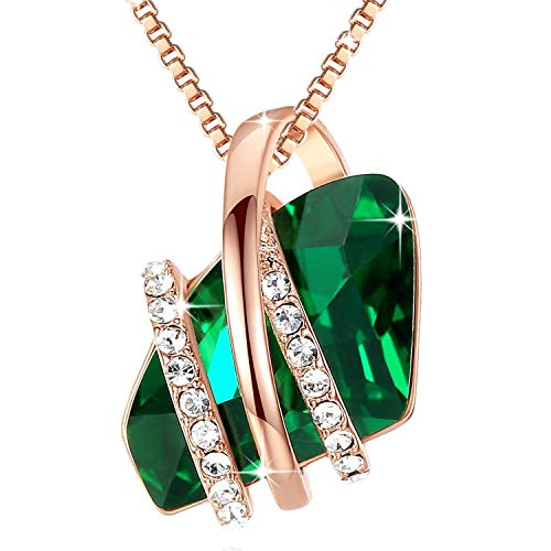 Leafael Wish Stone Pendant Necklace Made Swarovski Crystals (Emerald Green Rose Gold Plated) Gifts Women May Birthstone -