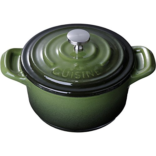 La Cuisine 4 In. Enameled Cast Iron Mini Covered Casserole, Green