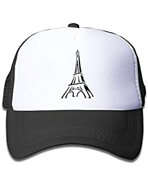 Eiffel Tower Clipart On Children's Trucker Hat, Youth Toddler Mesh Hats Baseball Cap