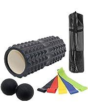 Odoland Faszienrolle Set 8 In 1 inkl. Schaumstoffrolle mit Fitnessbänder 4er u. Faszienball, Professionelle Faszien Rolle zum Faszien Training von Muskeln