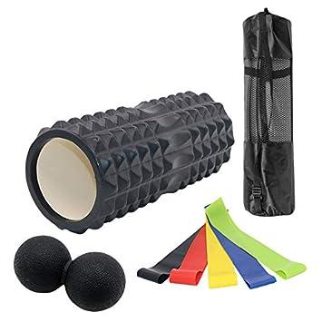 Rodillo de Espuma de Alta Densidad para Terapia Muscular y Ejercicio de Equilibrio Odoland 8-en-1 Kit de Espuma con Bolas de Masaje y Bandas de Resistencia El/ástica