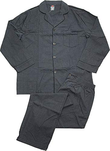 Hanes Men's Broadcloth Pajama Set, Black, -