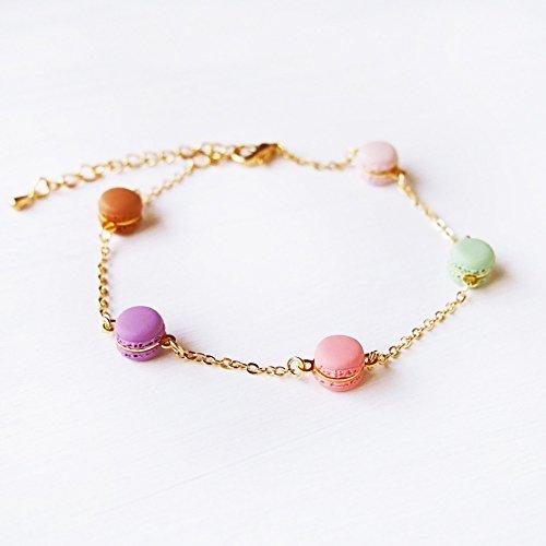 Elfi Handmade Cute Mini Macaron Bracelet, Miniature Dessert Food Jewelry, Wedding Gift, Macaron Charm, Lolita, Kawaii, Inedible Food, Perfect for Christmas gifts