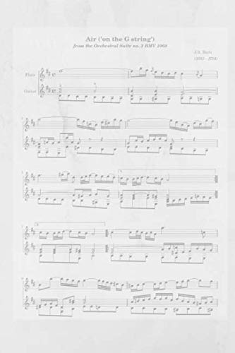 Air ('on the G string') J. S. Bach: BLANK sheet music standard manuscript notebook for songwriters, musicians and composers with alternating pages of journal paper for notes and/or lyrics (Bach Air On G String Violin Sheet Music)