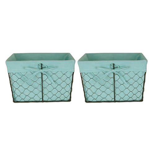 Home Traditions Vintage Metal Chicken Wire Storage Basket With Removable Fabric Liner  Set Of 2 Medium Sized  Aqua
