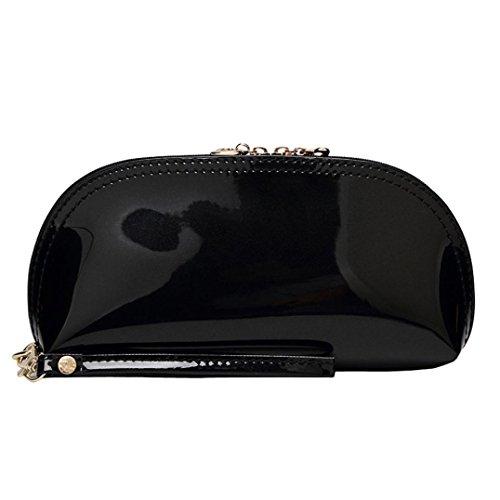 Mochilas Mujer Casual,Mujer sólido color cremallera brillante superficie embrague bolsa moneda bolsa de teléfono LMMVP Negro