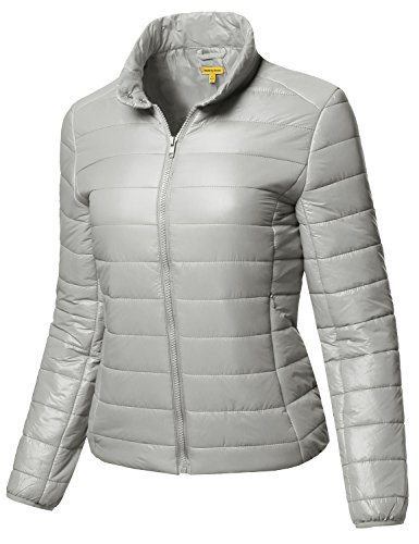 Lightweight Solid Basic Outdoor Sports Quilted Puffer Jacket Silver L