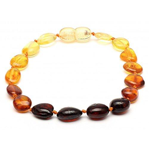 Polished Corners - Amber Corner Baltic Amber Adult Knotted Bracelet Unisex ABB145 Polished Rainbow 19cm Round Flat Beads By