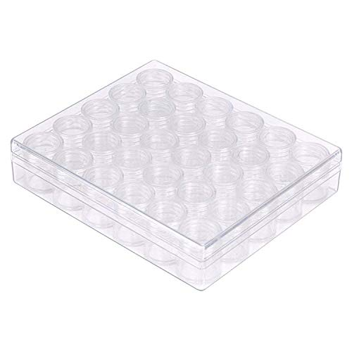 Translucent Diamond Storage Container - 30 Pots Suitable for Art and Craft Supply Items, Deep Utility Organization & Jewelry - Clear Plastic Compartment Box with Removable Pot Style ()