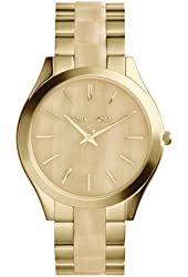 Michael Kors MK4285 Women's Runway Horn and Gold-Tone Stainless Steel Bracelet Watch