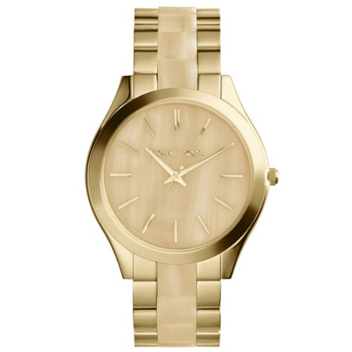 Horn Link Bracelet Watch - Michael Kors MK4285 Women's Runway Horn and Gold-Tone Stainless Steel Bracelet Watch