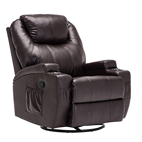 Upholstered Rocker Brown (Windaze Manual Recliner Rocker Chair, 360 Degree Swivel Heated Recliner Bonded Leather Sofa Chair with Motors Massage,Brown)