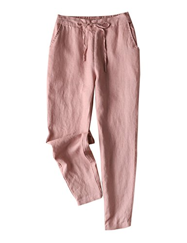 - IXIMO Women's Tapered Pants 100% Linen Drawstring Back Elastic Waist Pants Trousers with Pockets (Pink, X-Large)