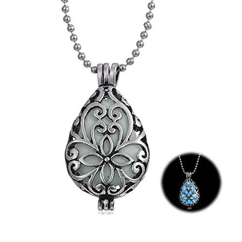 Heartless Queen Costumes - Silver Plating Vintage Waterdrop Hollow Flower Pendant Necklace Glow In The Dark Jewelry N302-12
