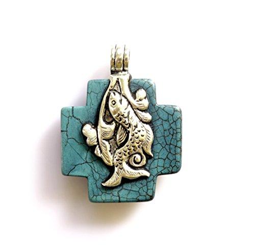 Reversible Turquoise Cross (Tibetan Silver OM CROSS PENDANT TURQUOISE GEMSTONE REVERSIBLE PENDANT HEALING AMULET BOHO PENDANT UNISEX PENDANT ANIMAL PENDANT)