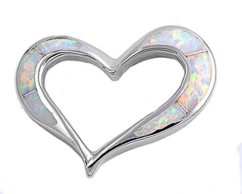 (Heart Pendant White Simulated Opal .925 Sterling Silver Charm - Silver Jewelry Accessories Key Chain Bracelet Necklace Pendants)