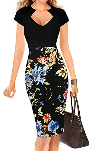 LunaJany Women's Sexy V Neck Cap Sleeve Wear to Work Pencil Dress M Black+Floral ()