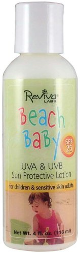 Reviva Labs Beach Baby UV A/B Sun ProteCTive Lotion SPF 25 - 4 Oz, 6 pack by Reviva