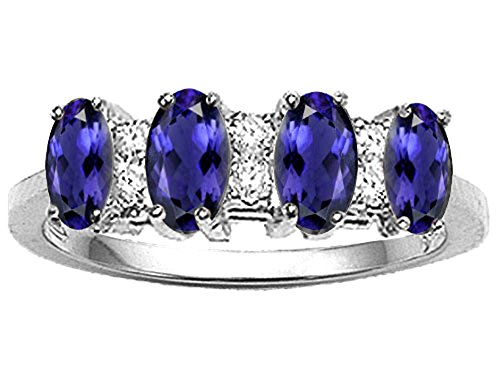 Tommaso Design Oval 5x3mm Genuine 4 Stone Iolite Ring 14 kt White Gold Size 9 ()