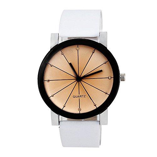 Bokeley Valentine's Watch Gift,Men's Wrist Watch, 1PC Men Quartz Dial Clock Leather Wrist Watch Round Case (White)