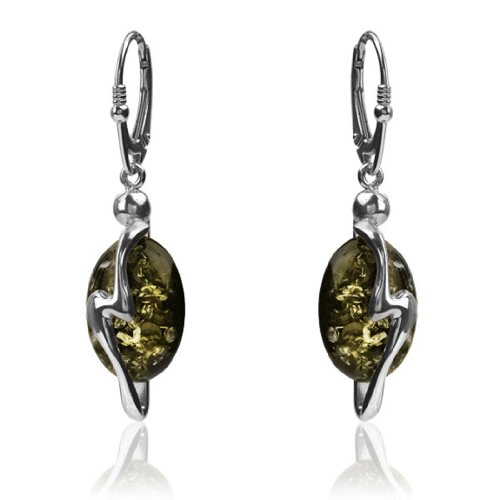 Sterling Silver Black Green Amber Lightning Oval Stone Leverback Earrings - Oval Amber Stone