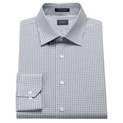 Arrow Mens Classic Fit Spread Collar Dress Shirt Check Slate Grey (16 Neck 32/33 Sleeves)