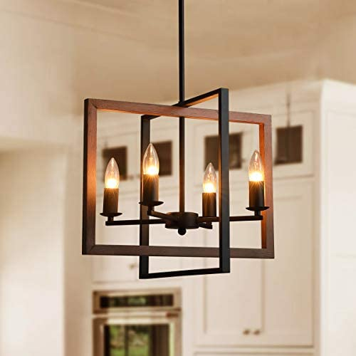 Industrial Island Light Wood Grain Finish Metal Chandeliers, 6-Light Flush Mount Pendant Lighting Fixture for Kitchen Living Room Dining Room Bedroom Bar and Restaurant 4 Light Wood Grain
