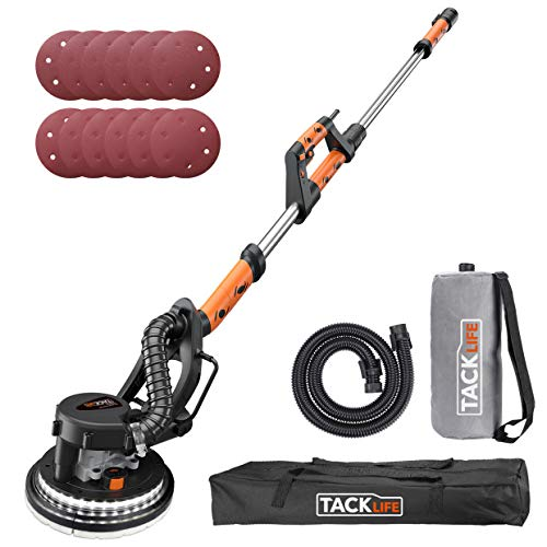 TACKLIFE Drywall Sander, 6.7A(800W), Automatic Vacuum System, 12 Sanding Discs, Variable Speed 500-1800 RPM Electric Drywall Sander with LED Light and a Carry Bag, Extendable Handle 1.6-1.9m PDS03A (Best Sander For Exterior Paint Removal)