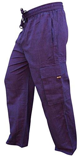 Shopoholic Fashion Mens Light Weight Plain Hippy Combat Trouser (Purple,2XL)