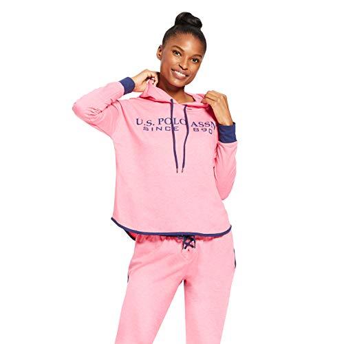 Rider Pink Sweatshirt - U.S. Polo Assn. Womens Cuffed Sleeve Athletic Hooded Pajama Lounge Sweatshirt Pink Sapphire Heather Small
