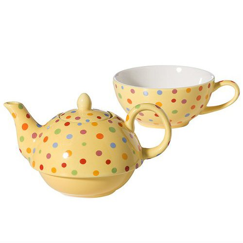 Yedi Houseware Classic Coffee and Tea Polka Dot Tea For One Set, Yellow