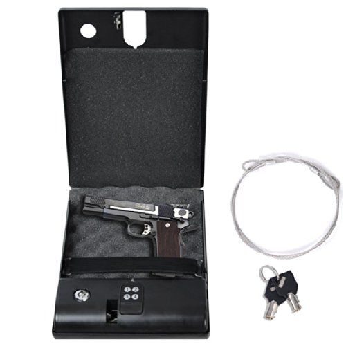 Electronic Digital Gun Safe Security Box Keypad Lock Cable Cash Pistol Car Home