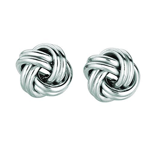Sterling Silver White Polish Rohdium Finish 13mm 2 Row Love Knot Stud Earring by Diamond Sphere