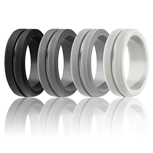 (Egnaro Silicone Wedding Rings by Marrimi,Premium Silicone Wedding Bands for Men,Flexible,Skin Safe &Comfortable)