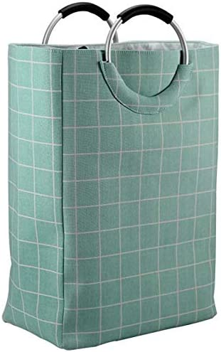 DOUBLE LAUNDRY BASKET WITH HANDLE ORGANIZER DIRTY CLOTH FOLDABLE HAMPER GREEN