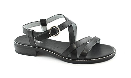 Pelle 05806 Nero Giardini Incrocio Sandali Cinturino Donna BxAqO