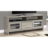 Monarch Specialties Dark Taupe with Glass Doors TV Stand, 60
